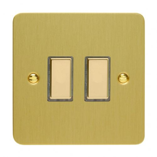 Varilight JFBES002 Ultraflat Brushed Brass 2 Gang Touch Dimming Slave (use with V-Pro Master)